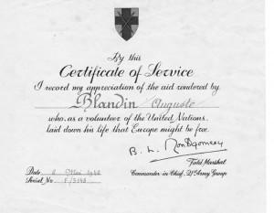 Auguste Blandin certificat